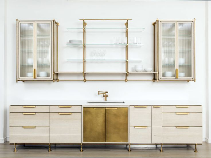 Flexibility + design defined -- the lower cabinets can be composed to create a dynamic visual rhythm through changes in size and changes in materials. The upper cabinets are available in open or closed designs with multiple material and finish options.