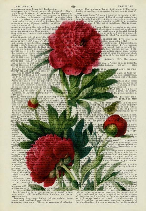 Peony painting printed on old page from dictionary by FauxKiss, $12.00