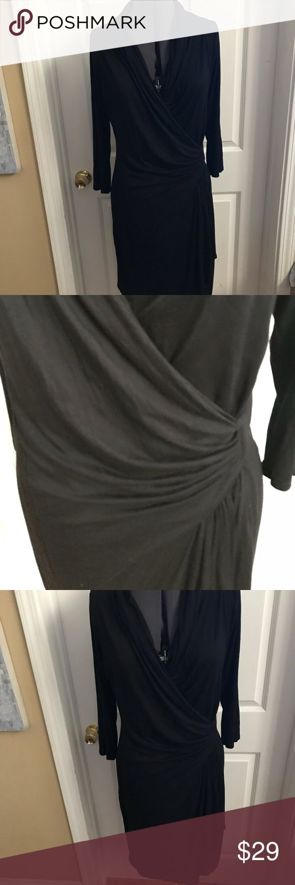 Karen Kane faux wrap black long sleeve dress sz L Karen Kane faux wrap black long sleeve dress sz L Karen Kane Dresses Midi