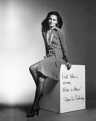 Diane Von Fustenberg dans sa robe portefeuille