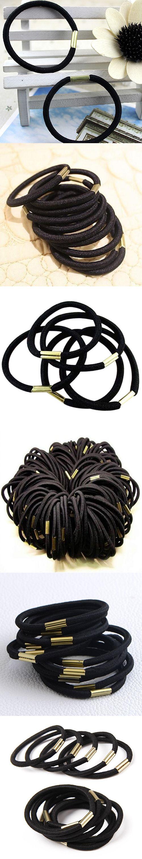 Hot 10Pcs Girls Black Elastic Hair Ties Band Rope Ponytail Holder Bracelets Scrunchie 7FR4