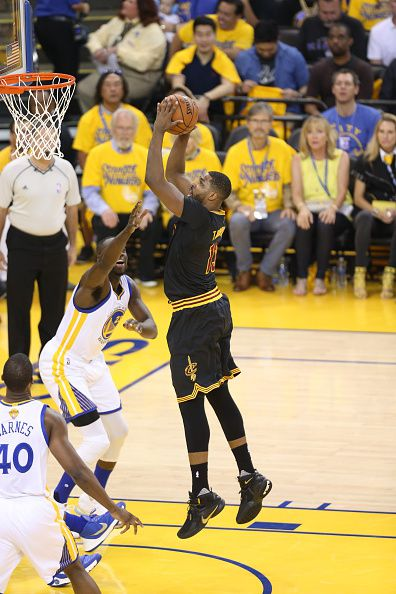 Tristan Thompson of the Cleveland Cavaliers shoots against the Golden State Warriors during Game Seven of the 2016 NBA Finals on June 19 2016 at...