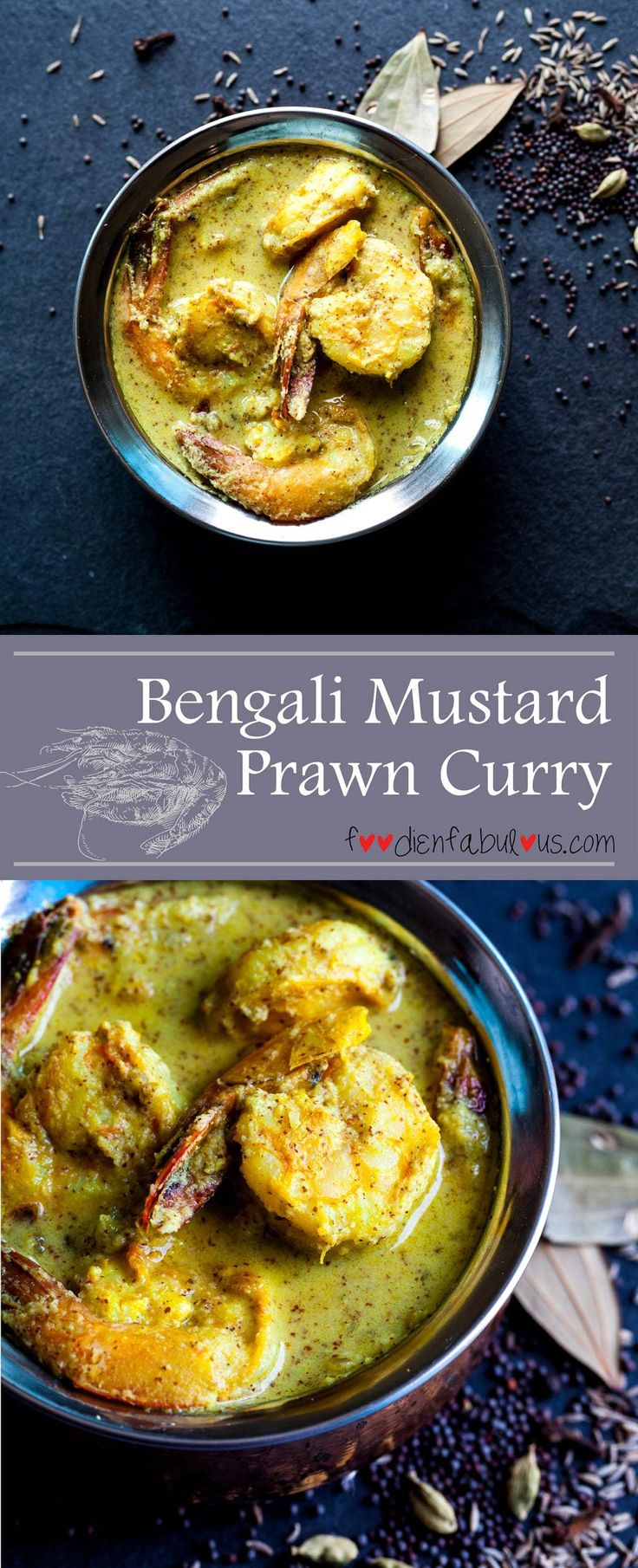 Bengali Mustard Prawn Curry recipe (Chingri Malaikari) served with a side of steamed basmati rice that would make a complete seafood meal.