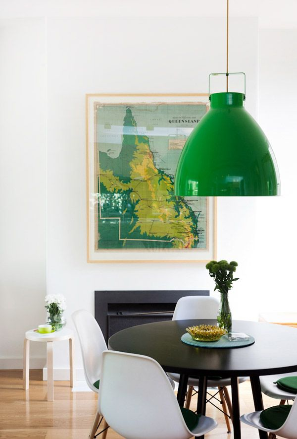 vintage map + green pendant + white eames
