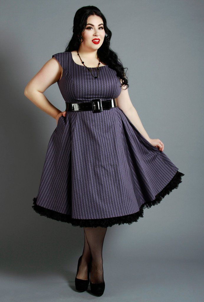 A Retro-inspired Pinup dress with classic details (full skirt, pockets, scoop neck). Available in Reg & Plus Sizes (S-3X). Modern Vintage Style. Canadian Made. Olivia Dress - Violet Ribbons