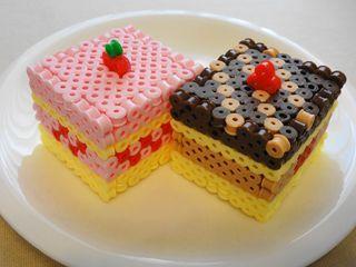 アイロンビーズ ☆立体ケーキ☆の作り方 ビーズ小物 ビーズ アトリエ
