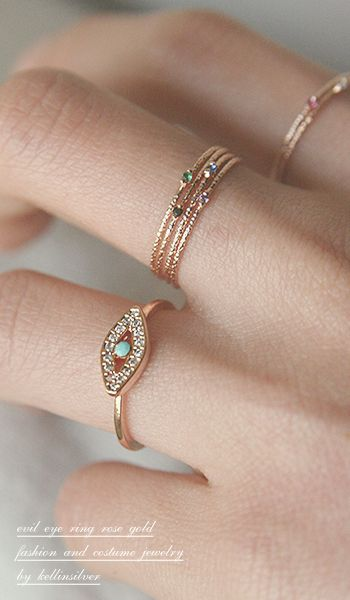 Rose Gold Evil Eye Ring Jewelry from Kellinsilver.com – turkish evil eye jewelry