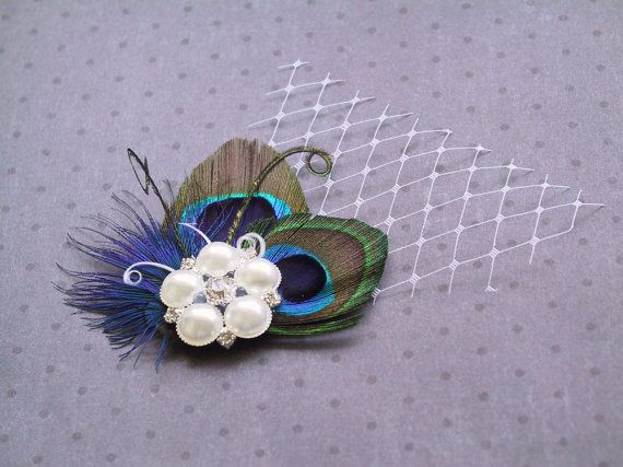 Bridal Peacock Fascinator, Feather Hair Piece, Wedding Hair Accessories, peacock feather hair clip - DOUBLE PRETTY PEACOCK. $36.00, via Etsy.