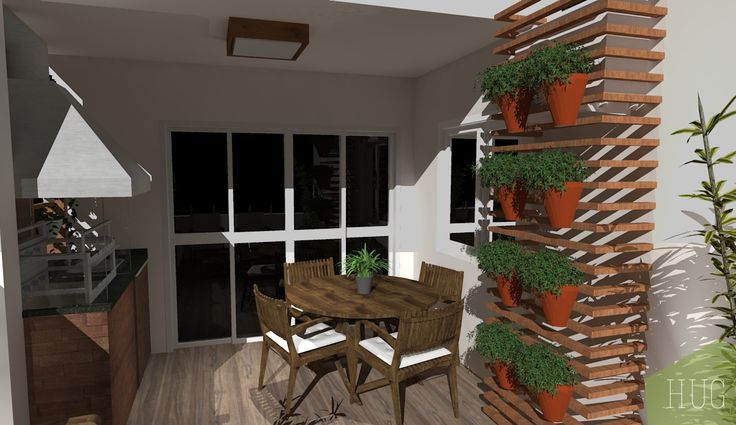Treliça para esconder a máquina do ar condicionado e pendurar casinhos de temperos. Projeto Hug Arquitetura #design #decor #designdeinteriores #arqdesign #architecture #instahome #interiordesign #arquiteturadeinteriores #decorismo #arquiteturadeinteriores #homedecor #cool #modern #passofundo #portoalegre #trelica #horta #temperos #varanda
