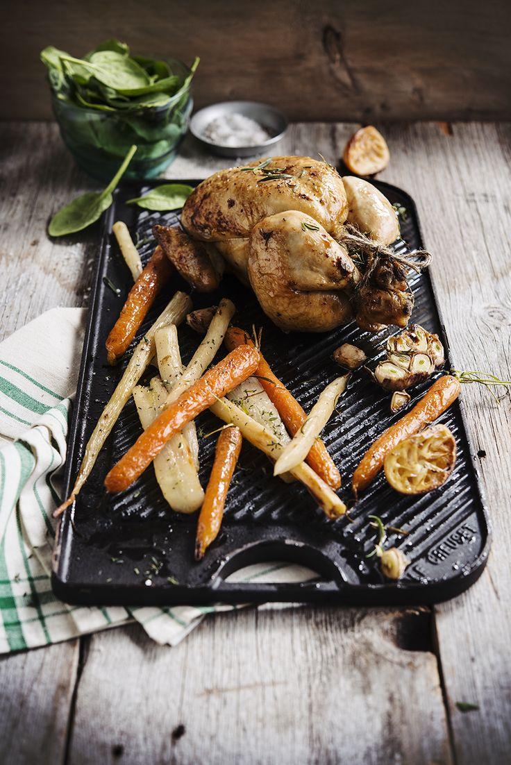 Geroosterde kip met rozemarijn & citroen vergezeld van wintergroenten