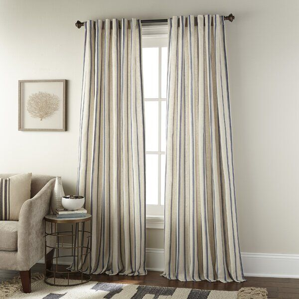 Damore Vertical Stripe Rod Pocket Single Curtain Panel In 2020