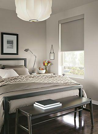 Custom Modern Window Treatments: Solar shades; Room and Board