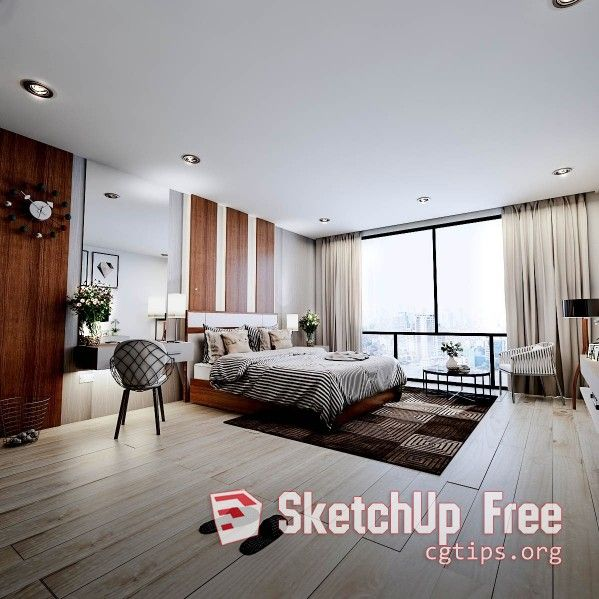1745 Interior Bedroom Sketchup Model Free Download
