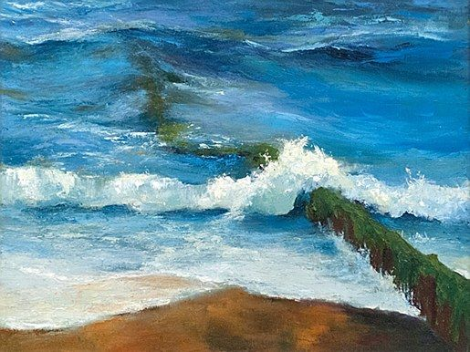 Jane Meyler-Breaking Waves  #art #clouds #beach #water #waves #shore  #landscape #seascape #DukeStreetGallery