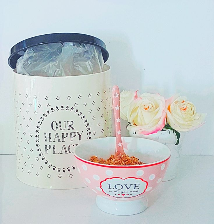 Breakfast with our love is all you need bowl and cereal in our happy place tin canister.