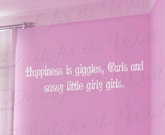 Happiness Giggle Curl and Sassy Little Girl Room Kid Baby Nursery Adhesive Vinyl Lettering Quote Wall Decal Art Sticker Decor Decoration K51...
