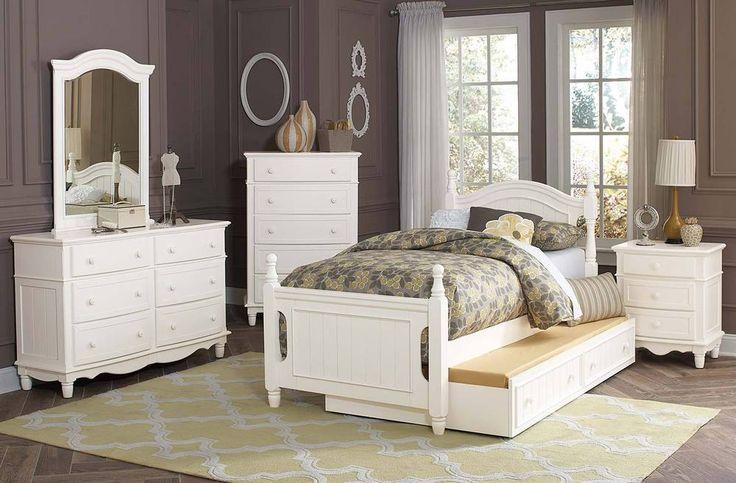 5 PC YOUTH WHITE TWIN TRUNDLE BED DRESSER MIRROR BEDROOM FURNITURE SET in Home & Garden, Furniture, Bedroom Sets   eBay