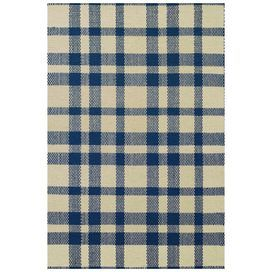 Hand-woven cotton rug with a navy and beige plaid motif.   Product: Rug Construction Material: 100% Cotton Color: Navy and beige  Features: Hand-woven in India   Note: Please be aware that actual colors may vary from those shown on your screen.Accent rugs may also not show the entire pattern that the corresponding area rugs have.