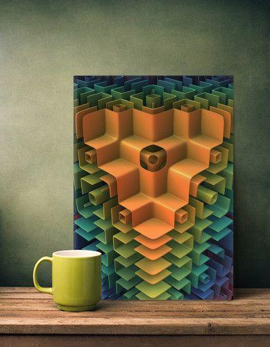 Cubicles 3-D Art on metal plate