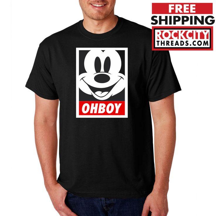OHBOY MICKEY MOUSE T-SHIRT Black Obey Parody Oh Boy Graffiti Shirt Giant Tshirt #RockCityThreads #GraphicTee