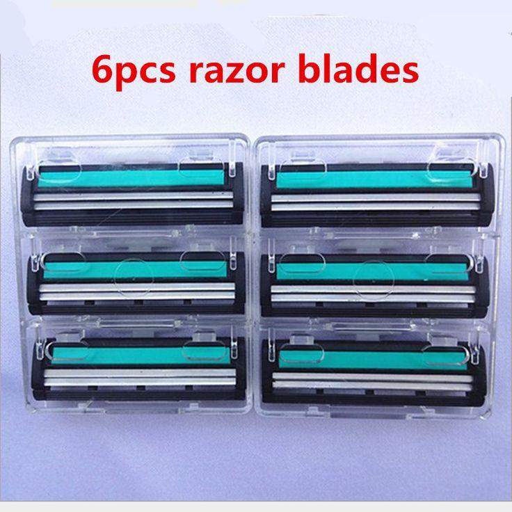 6pcs/lot Old-Fashioned High Quality Face Care Shaving Razor Blade For Men Mache 2 Blades Shaving Machine Beard Shaving Trimmer