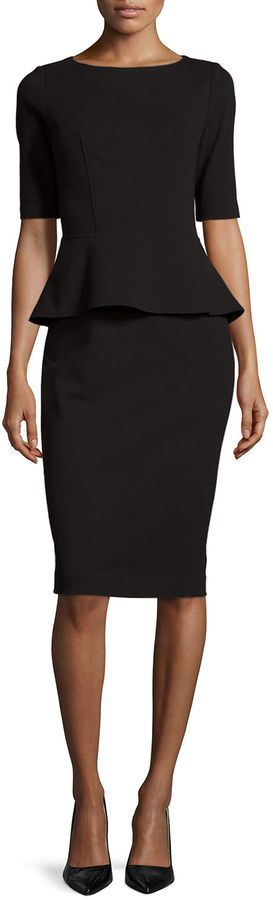 Lafayette 148 New York Half-Sleeve Peplum Dress