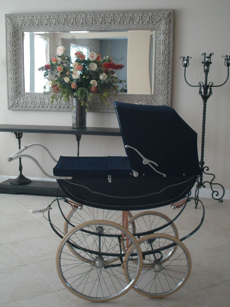 Royale Vintage Stroller Navy Blue Antique Silver Cross Pram vintage   #Royale