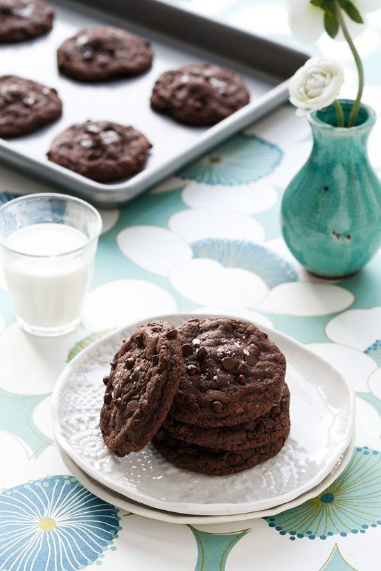 Double Chocolate Peanut Butter Stuffed Cookies with Sea Salt