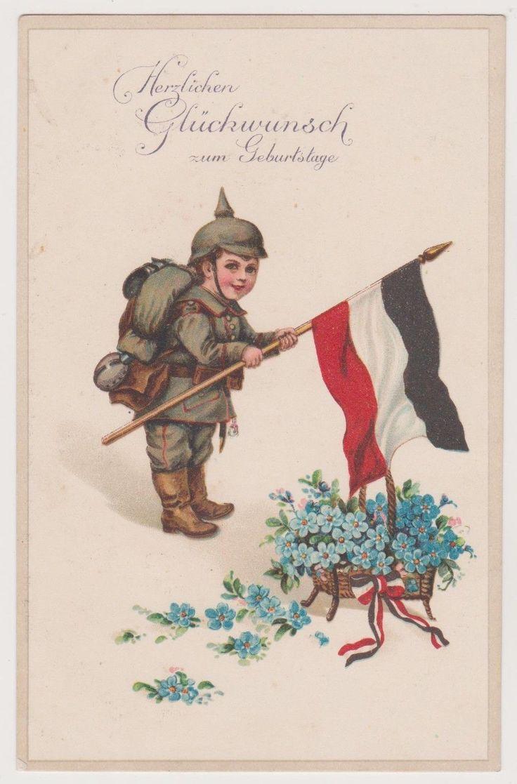 Ak, Deutscher Kindersoldat, Feldgrau, Glückwunsch Geburtstag, Patriotika, WWI