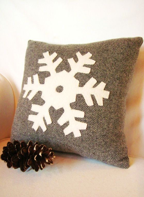 Gray Christmas pillow,Christmas Snowflakes pillow