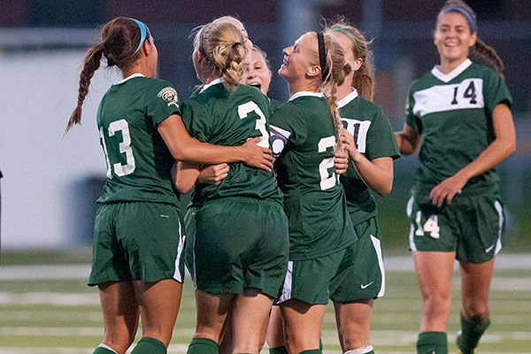 The Bemidji State soccer team celebrates after Christine Szurek's first collegiate goal Wednesday. The Beavers recorded a 1-0 victory over Minnesota Crookston. Check out our entire photo gallery: http://www.bsubeavers.com/wsoccer/photos/2013/399/