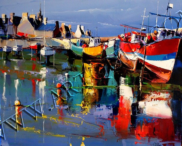 reflets sur le port de roscoff eric le pape acryliques pinterest oil and paintings. Black Bedroom Furniture Sets. Home Design Ideas