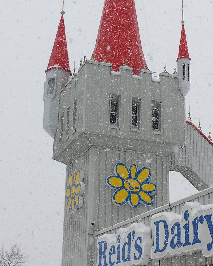 It's a snowy day at the Reid's Dairy Castle. Everyone drive safe and enjoy this beautiful day! by reidsdairycompany