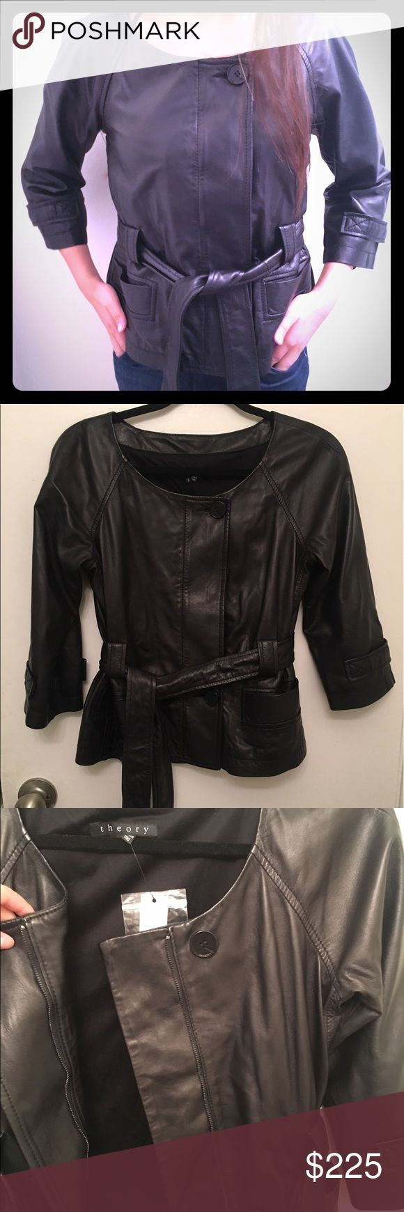 Theory black Lambskin leather jacket with belt Theory lambskin leather jacket. Buttons and zips up with a belt/tie. Size small. Ragata jacket in premier black color. Made in Italy. Retailed for $895 Theory Jackets & Coats