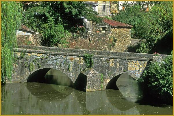 Pont Vieux de Vouvant construit aux XIIIe et XVe siècles au-dessus de la rivière Mère; un pont roman et gothique à 3 arches muni d'avant bec.