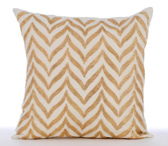 decorative throw pillow covers accent pillow couch sofa pillow case 16x16 white linen pillow cover gold