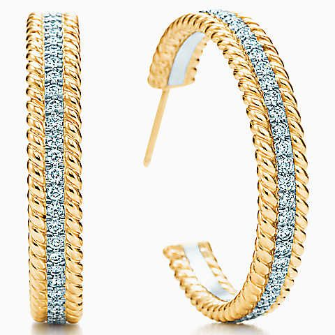 Tiffany & Co. Schlumberger® Rope two-row hoop earrings in gold with diamonds.