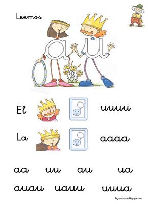 Fichas de lectura de vocales
