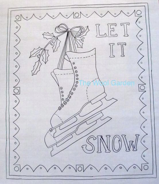 "LET IT SNOW - Rug Hooking Pattern 21""x25"" hand drawn on linen by thewoolgarden on Etsy https://www.etsy.com/listing/200836820/let-it-snow-rug-hooking-pattern-21x25"