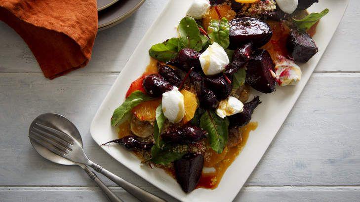 Winter salad of roast beetroot and quinoa. <b>Photo:</b> Marcel Aucar. <b>Styling:</b> Marnie Rowe.