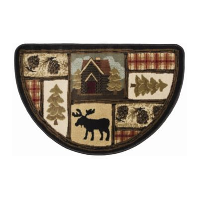 Give Your Home A Welcoming Cabin Feel With Our Henderson Moose Hearth Rug The Half Moon Design And Rustic Plaid Patterns Make For Great Entryway Accent