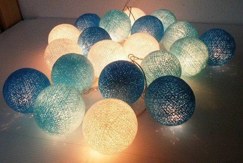 Fairy Lights – string lights blue cotton ball decor party – a unique product by…