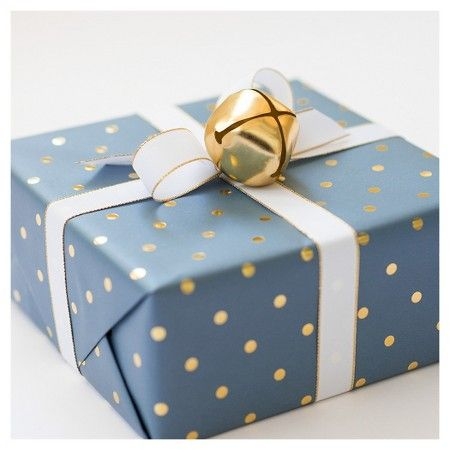 Sugar Paper® Gold Foil Signature Dot on Navy Wrapping Paper- 30sqft : Target