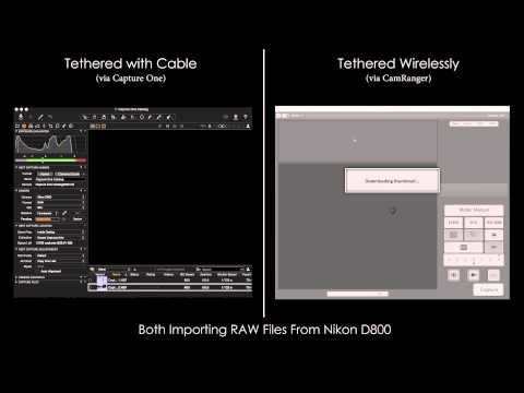 """Speed Test: Tethered with Cable vs Wireless  We often get asked, """"Is faster to tether with a cable or wirelessly?"""" So we did a speed test comparing tethered import using Capture One vs wireless import using CamRanger. Both are importing RAW files from a Nikon 800."""
