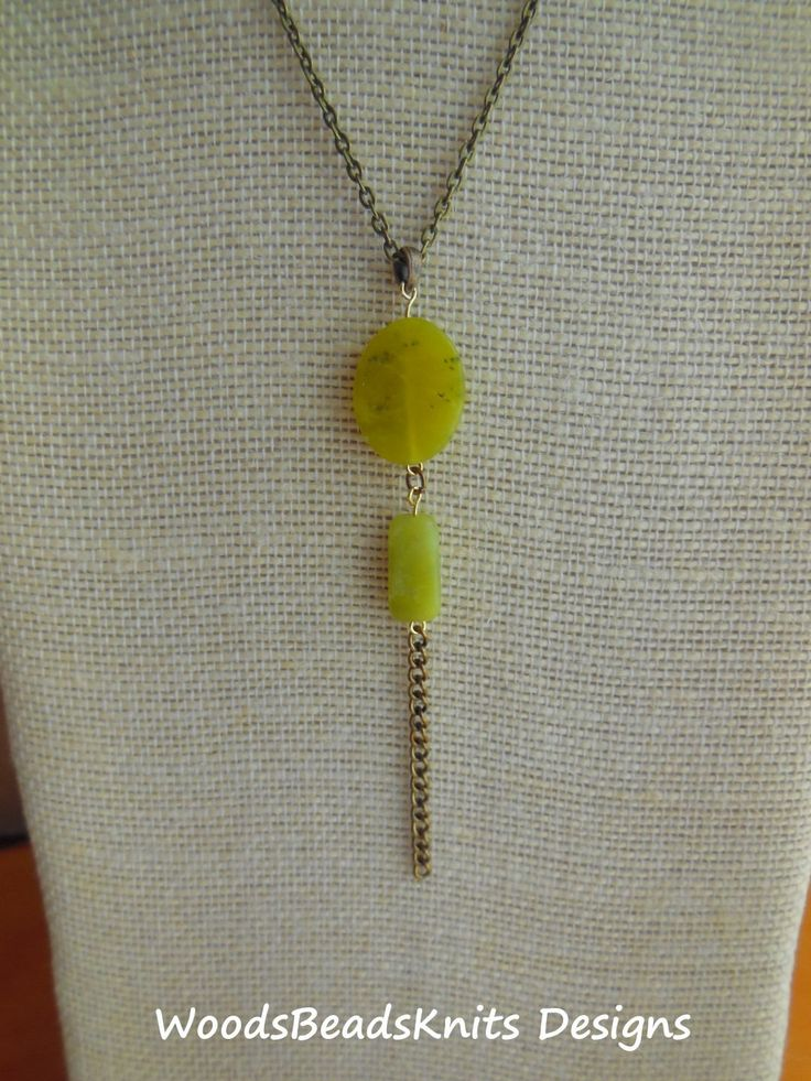 Serpentine Olive New Jade Long Pendant Necklace Antique Brass Plated Steel Chain Earthy Style