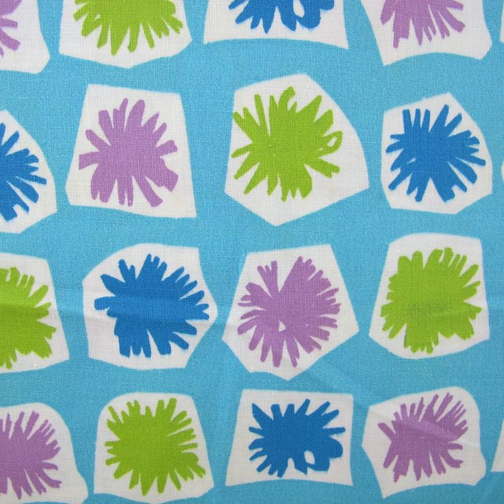 1950s Funky Aqua Geometric Vintage Cotton | A Piece of Cloth - Vintage Fabric Merchants