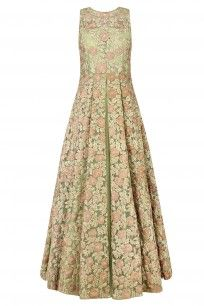 Olive Green and Gold Floral Embroidered Anarkali Suit Set  #OliveGreen #goldflorals #Embroidery #Anarkalisuit #ppus #happyshopping