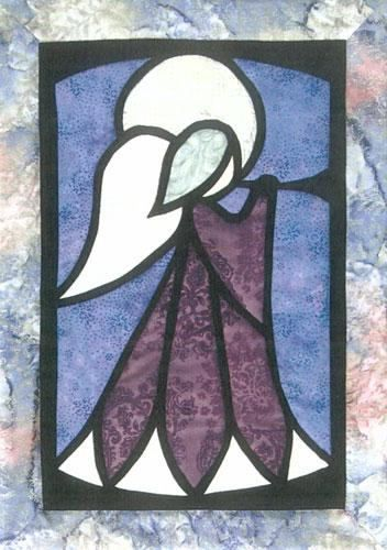 Designs to Share with You quilt pattern - The Angel - designed by Ursula Riegel  No bias tape, no turned under edges!  Contemporary applique and finishing techniques make this angel an enjoyable and surprisingly quick quilt pattern.  Finished Size: 14.5 x 20.5 Skill Level: Intermediate