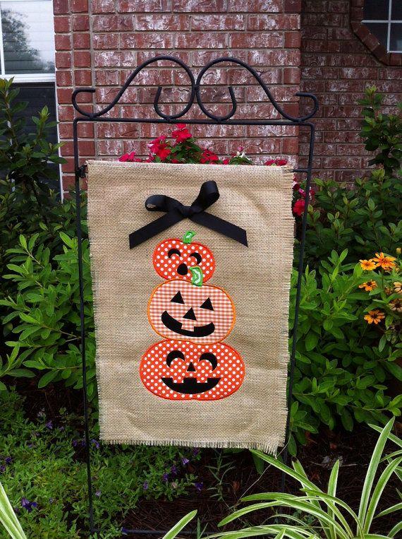 Burlap Halloween pumpkins garden flag- can be monogrammed on Etsy, $28.00
