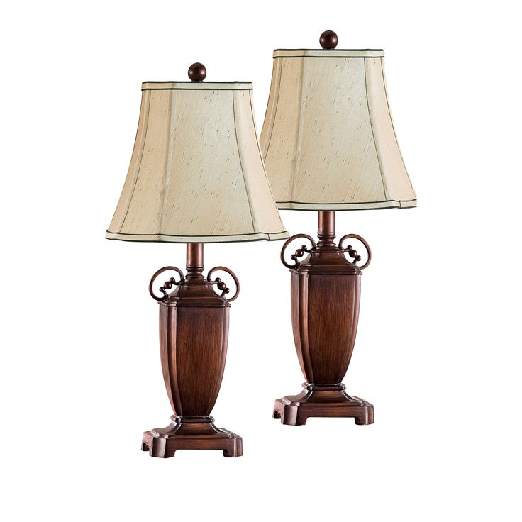 Antique Brushed Red With Light Brown Fabric Shade Traditional Table Lamps (Set Of 2)
